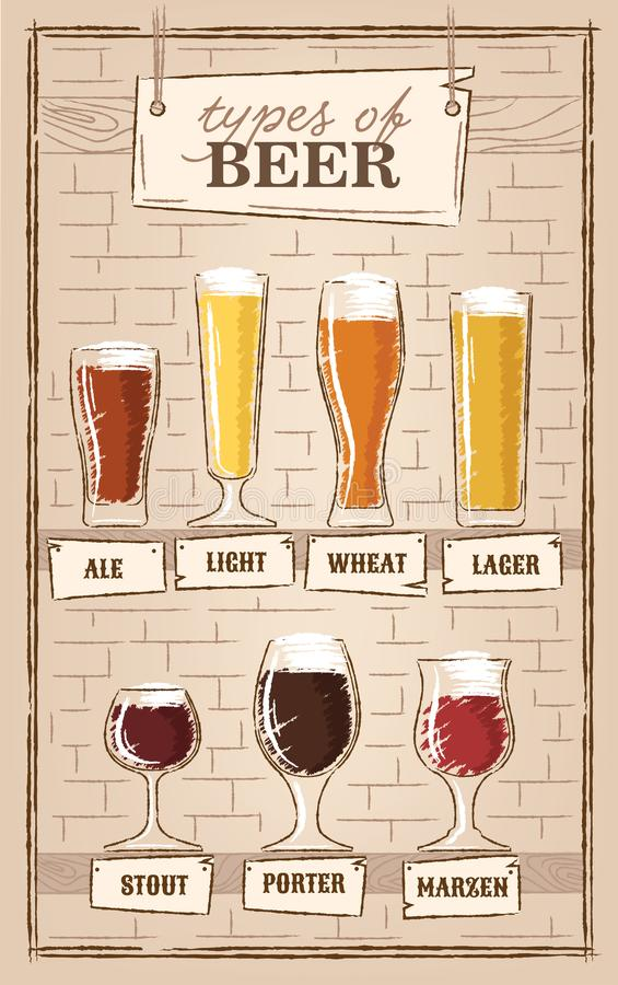 Free Beer Types. A Visual Guide To Types Of Beer. Various Types Of Beer In Recommended Glasses Stock Images - 121315524