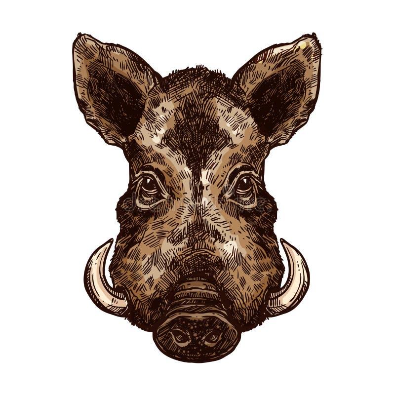 Beer, varkens of varkens wilde dier geïsoleerde schets stock illustratie