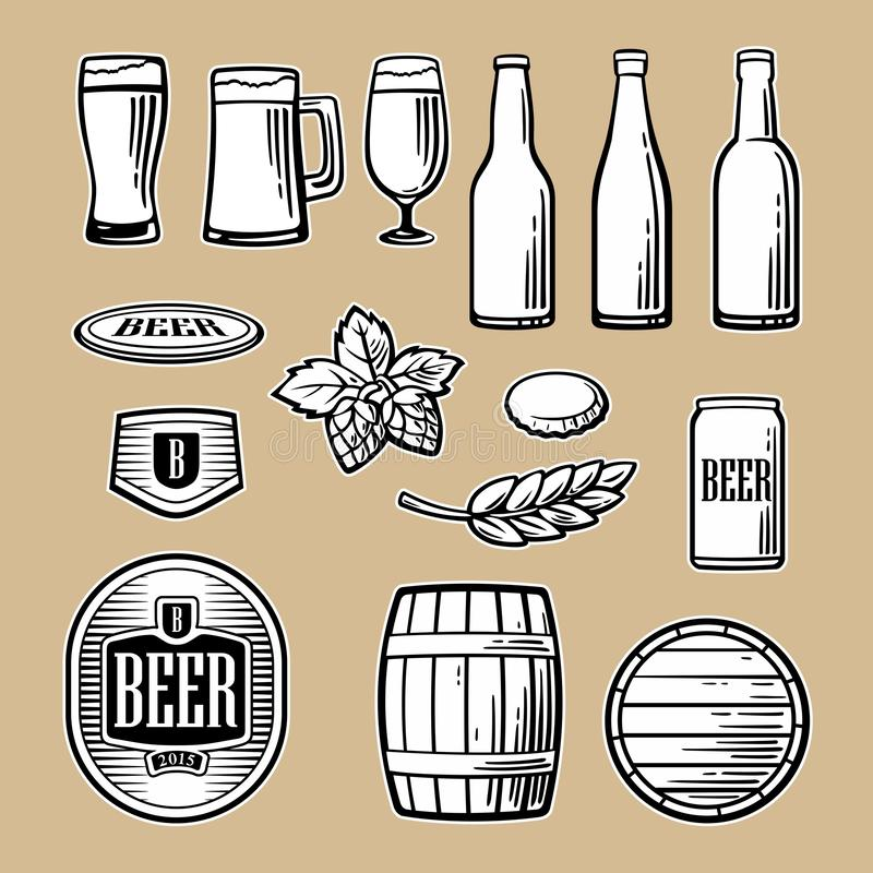 Beer vector flat icons set bottle, glass, barrel, pint. Beer vector flat icons set - bottle, glass, barrel, pint, barle, malt, cover, label. Color, orange green stock illustration