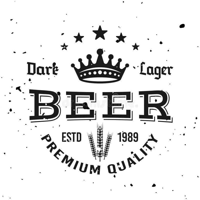 Beer vector typographic monochrome vintage emblem vector illustration
