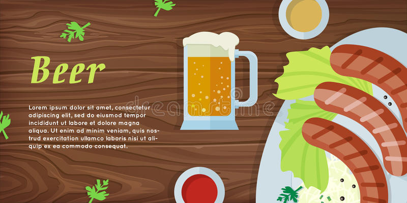 Beer Vector Web Banner in Flat Style Design vector illustration