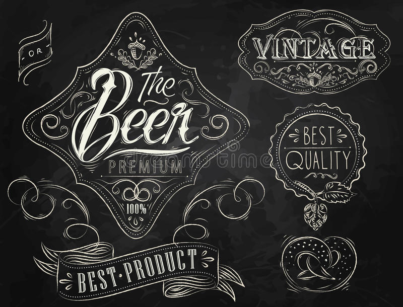 Beer vintage elements. Chalk. royalty free illustration