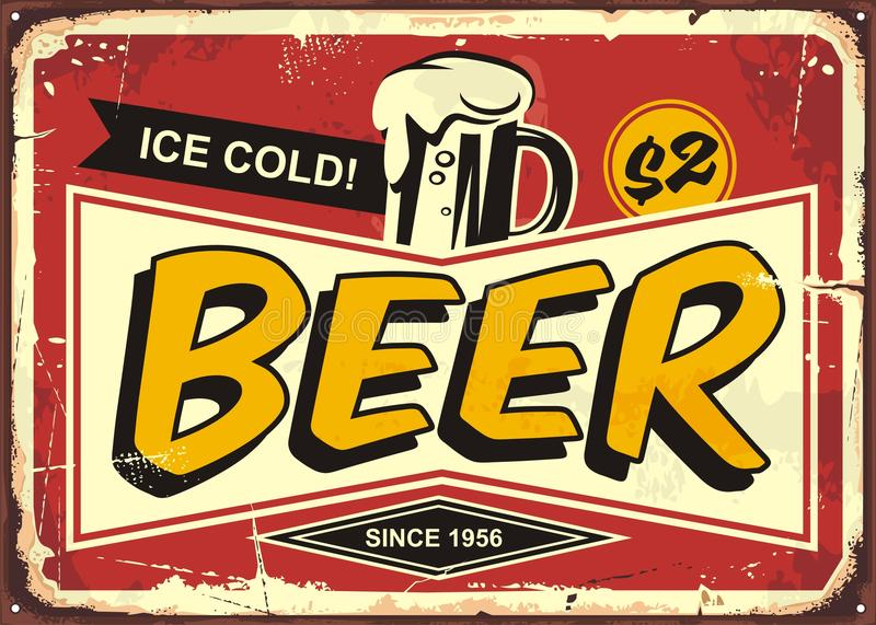 Beer vintage tin sign royalty free illustration