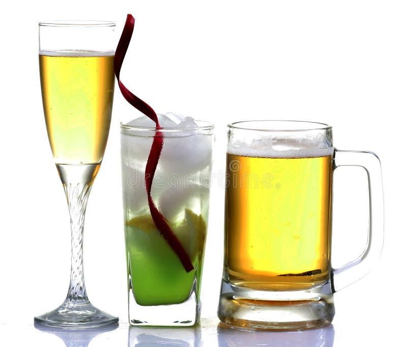 Beer, wine and lemon slush. Drinks isolated on white background stock photo