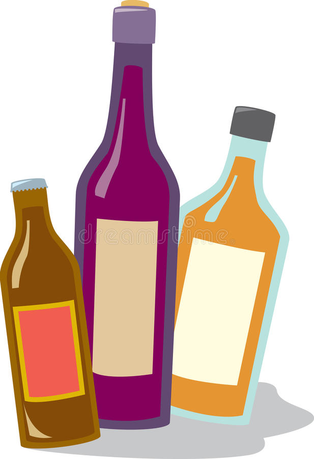 Beer Wine and Liquor. Three common types of alcoholic beverages sold in liquor stores. Bottles can be separated individually using editing software royalty free illustration