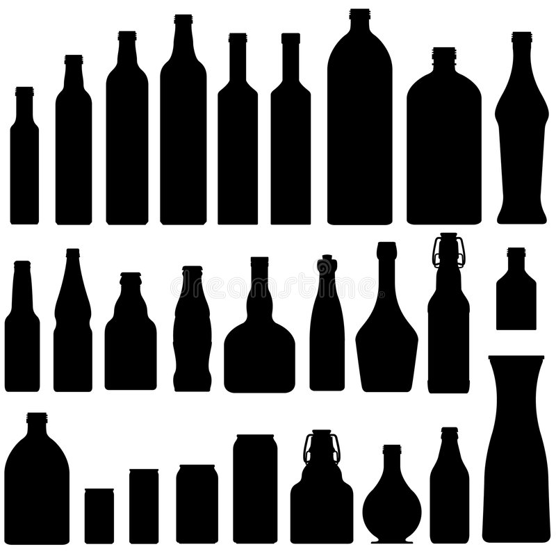 Beer, wine, and liquor bottles in vector. Vector silhouette set of beer, wine, and liquor bottles and jars stock illustration