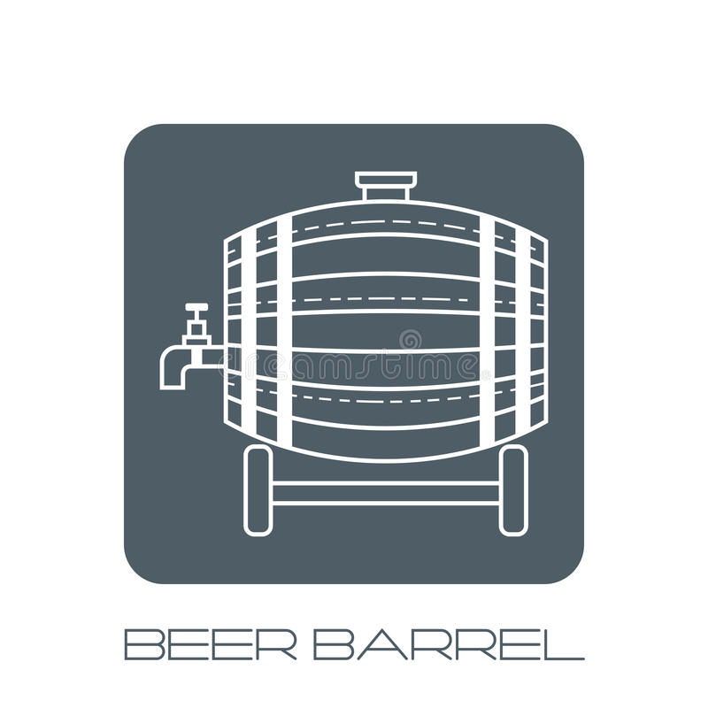 Beer wooden barrel with a tap. White linear, flat icon, object on the grey base. Beer wooden barrel with a tap. White linear, flat icon on the grey base vector illustration