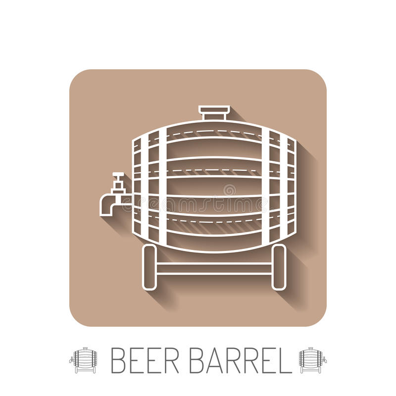 Beer wooden barrel with a tap. White linear, flat icon, object with a shadow on the base. Beer wooden barrel with a tap. White linear, flat icon with a shadow on royalty free illustration