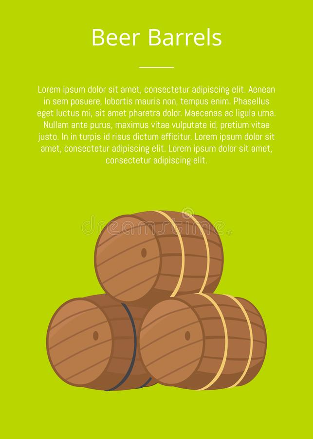 Beer Wooden Barrels Vector Illustration on Green. With text. Three casks or tuns hollow cylindrical containers, symbol of Oktoberfest or Octoberfest festival stock illustration