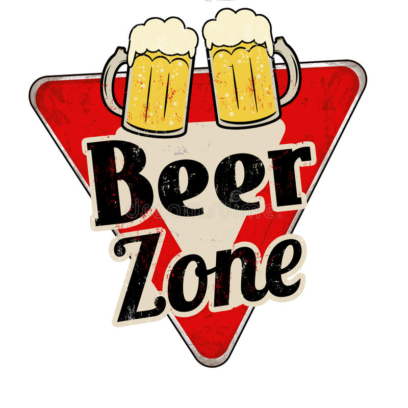 Beer zone vintage rusty metal sign stock illustration