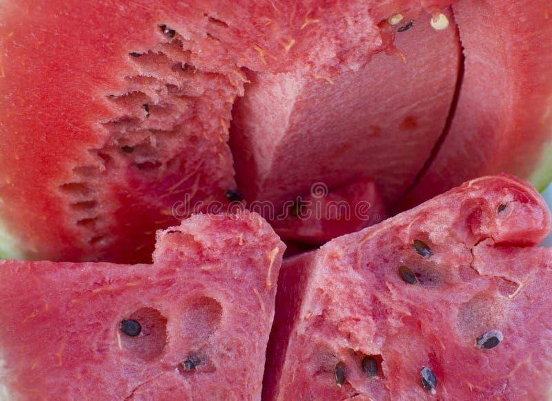 Beere ein reifes Rot der Wassermelone mit schwarzen Samen stockfotografie