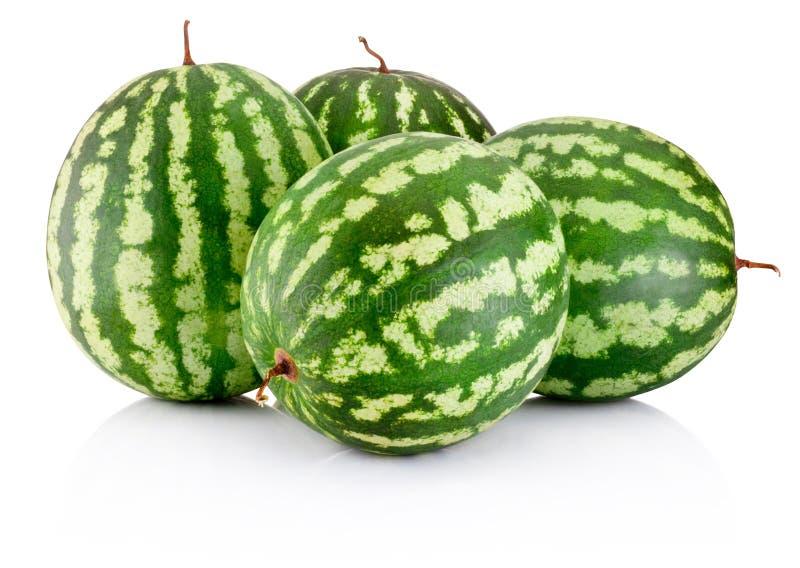 Beere mit vier reife Wassermelonen lokalisiert auf weißem Hintergrund stockbilder