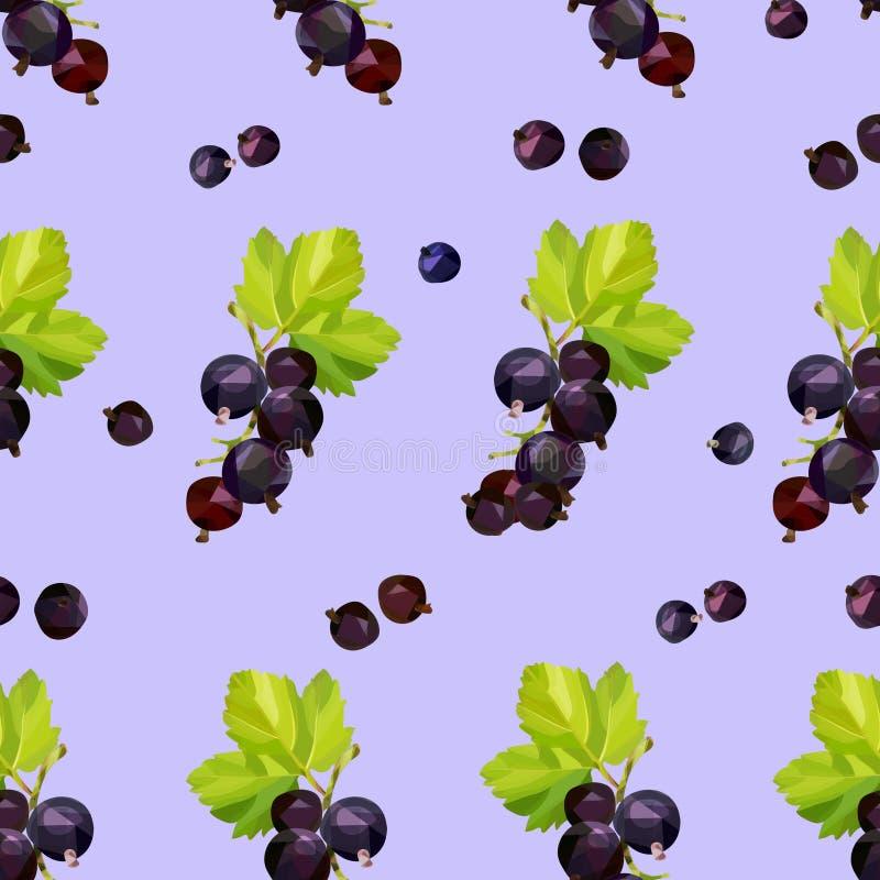 Beeren der Schwarzen Johannisbeere auf einem purpurroten Hintergrund in einem nahtlosen Muster vektor abbildung