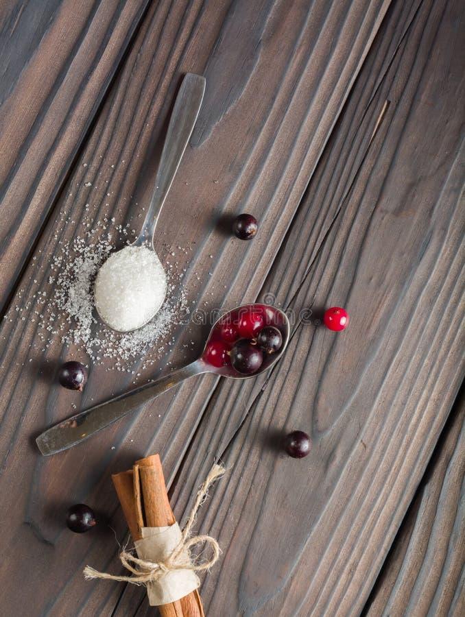Beeren in einem Löffel Korinthe rot und schwarz Dunkler hölzerner Hintergrund lizenzfreie stockfotos