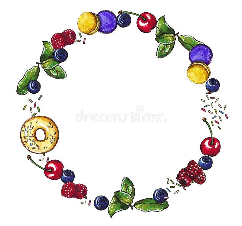 Beeren, süße natürliche Nachtischrunde formten Kranz, Handgezogene Aquarellillustration stock abbildung