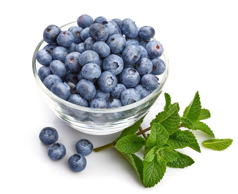 Beerenblaubeere mit Blattminze gro?em fruchtigem Beschneidungspfad eingeschlossen lizenzfreie stockbilder