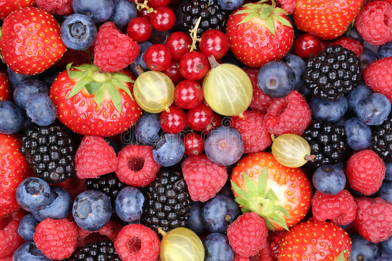 Beerenobst-Beerensammlungserdbeeren, Blaubeeren-raspbe lizenzfreies stockbild