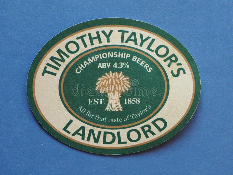 Beermat drink coaster in London. LONDON, UK - CIRCA DECEMBER 2016: beermat for a pint of Timothy Taylor Landlord beer stock image