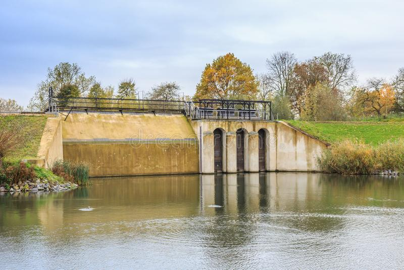 Part of Historical Dutch defense line, Nieuwe Hollandse Waterlinie,. Beersluis, Inlet sluice of Fort Everdingen for the flooding of the Nieuwe Hollandse stock images