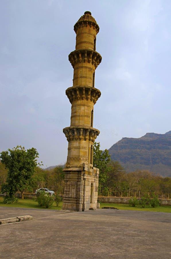 Outer view of Ek Minar Ki Masjid Mosque, built by Bahadur Shah 1526-36 AD on a high plinth has a single minaret. Champaner, Gu. Bees, Aarey Milk Colony INDIA stock image