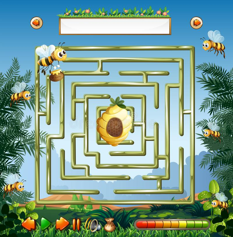 Bees and beehive maze game royalty free illustration