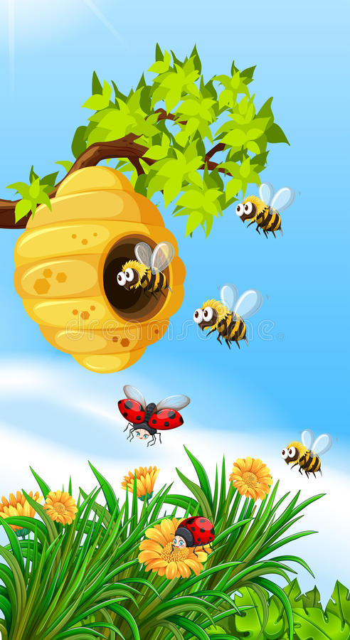 Bees and bugs flying around beehive royalty free illustration