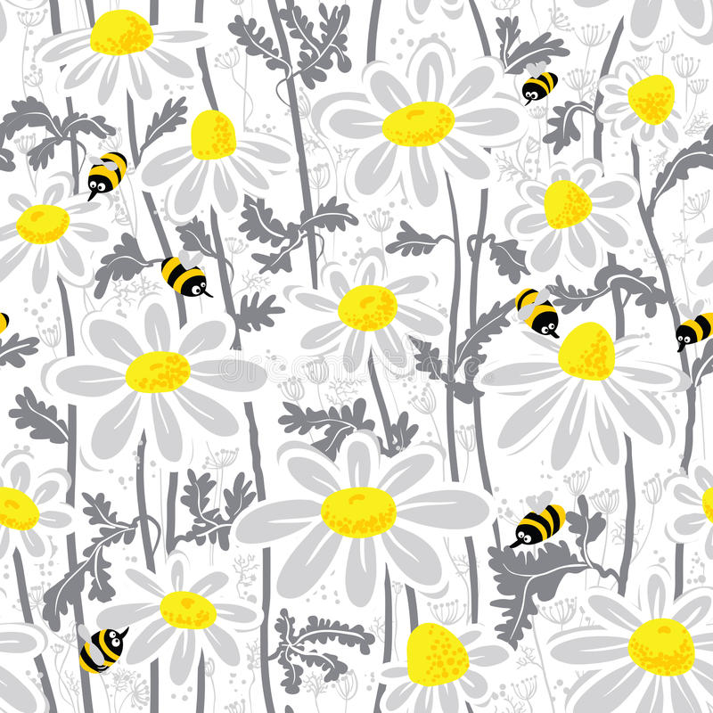 Bees and camomile vector illustration