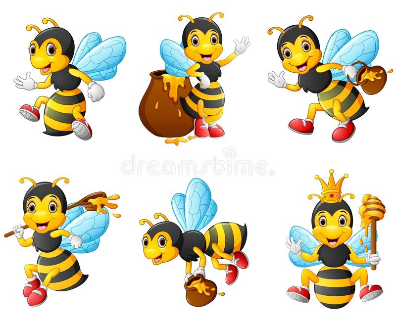 Bees character set collection royalty free illustration