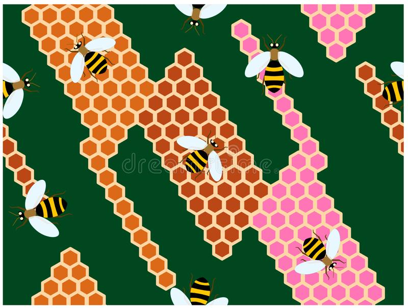 The bees climbing on the colorful hives vector illustration