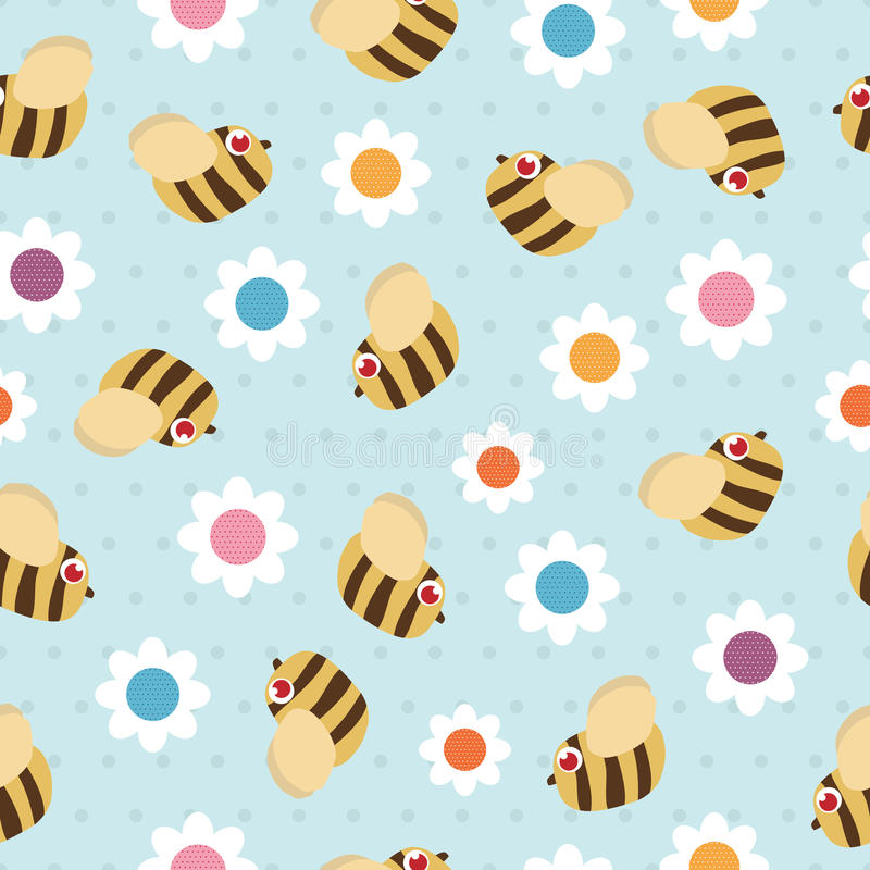 Download Bees and flowers stock vector. Illustration of pattern - 13972822