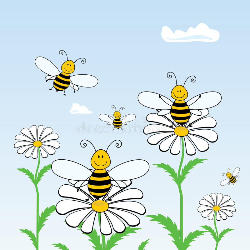 Bees on flowers stock illustration