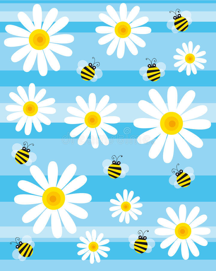 Bees and flowers. Illustration of bees and daisies in the blue background