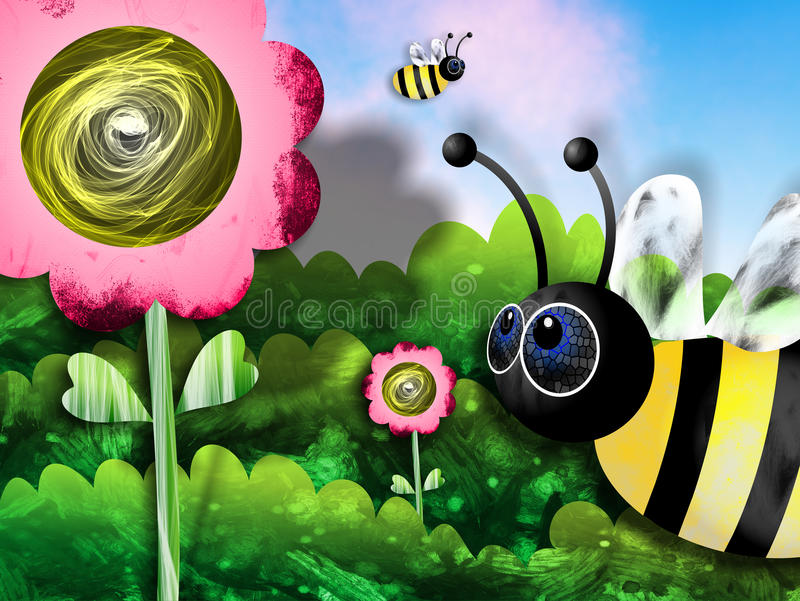 Bees and Flowers vector illustration