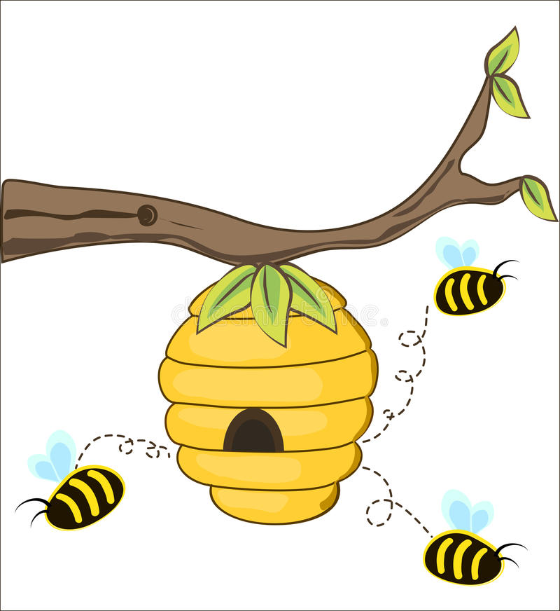 The bees fly out of a beehive. Hanging from a tree branch. vector illustration royalty free illustration