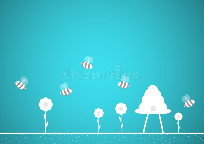 Bees and hive on blue background vector illustration