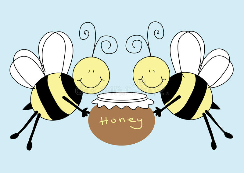 Download Bees Holding A Pot Of Honey Stock Illustration - Illustration of cartoon, smiling: 10301120