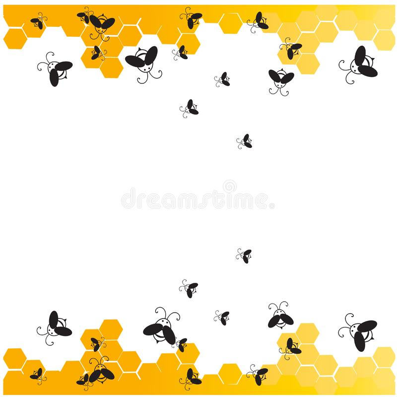 Bees with honey comb frame stock illustration