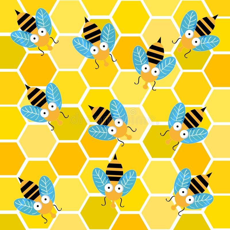 Bees with honeycomb. Vector illustration stock illustration