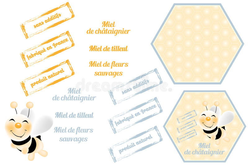 Bees with honeycombs. And label for packaging in French isolated on white royalty free illustration