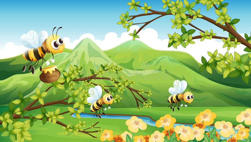 Bees near the mountain vector illustration