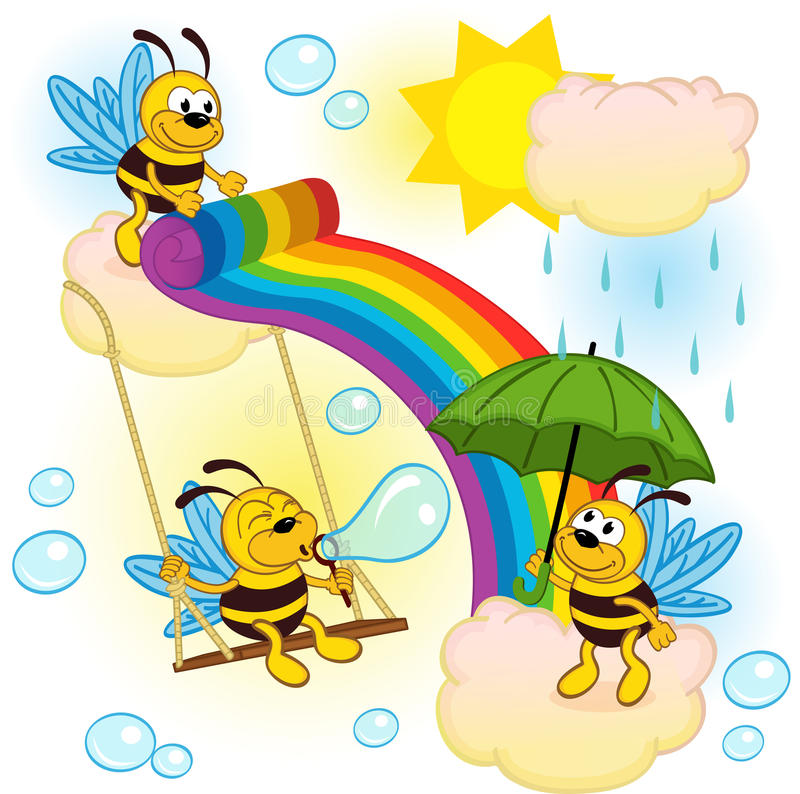 Bees playing in sky with a rainbow vector illustration