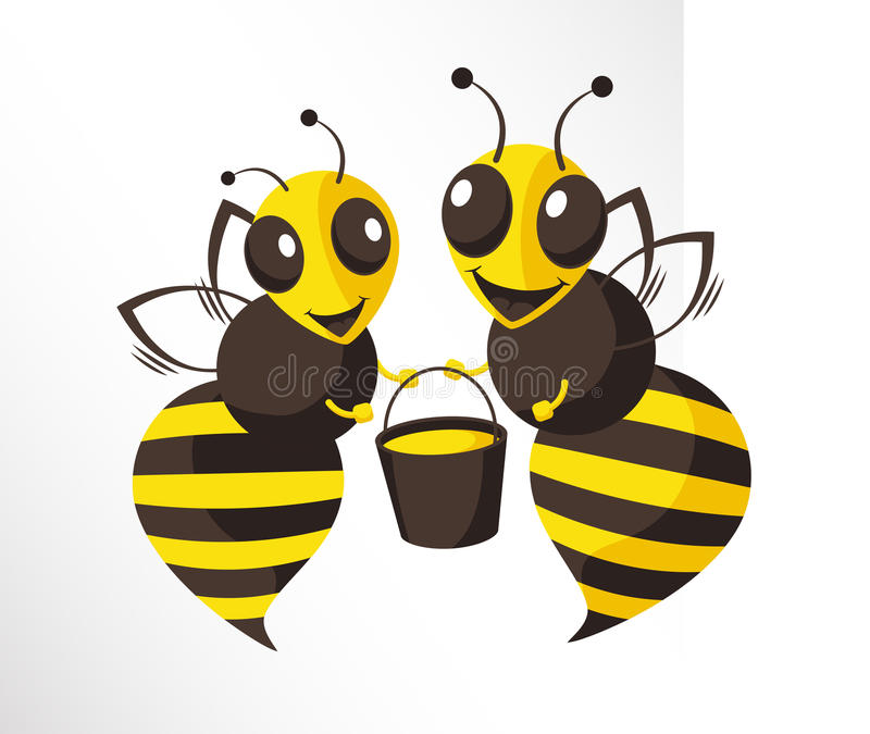 Bees. Two happy bees are holding a bucket of honey vector illustration
