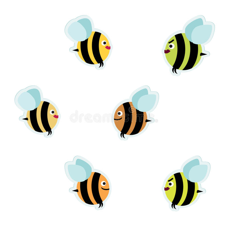 Bees. Various bees and wasps illustration royalty free illustration
