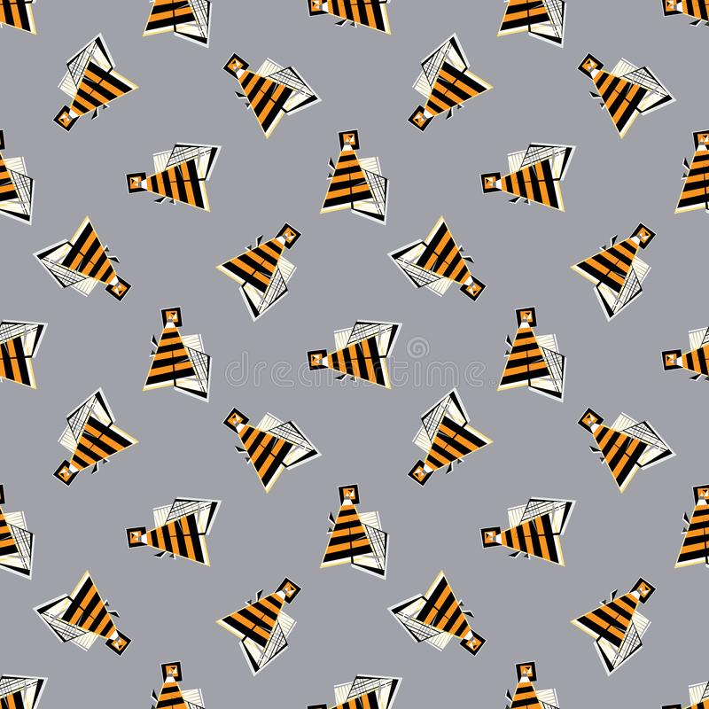 Bees vector seamless pattern. Abstract geometrical honeybee background. Insects striped texture in modern style for vector illustration