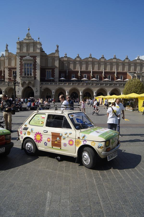 126 in krakow. `Bees will survive when flowers pollinate` under such a slogan to take a rally in Poland to defend bees. Fiat 126 in krakow royalty free stock images