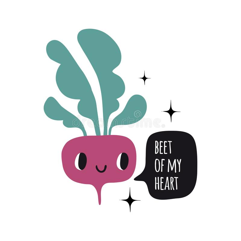Beet of my heart. Print with funny beetroot. Cute cartoon smile vegetable characters. Colorful design for cards, banners, printed materials. Cute doodle style royalty free illustration