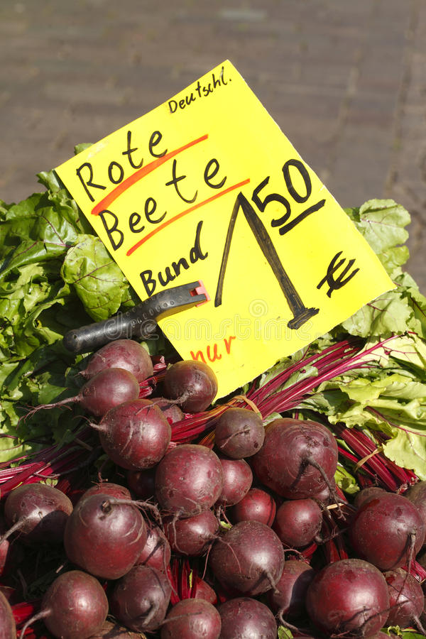 Beet roots. Red Beet roots Beta vulgaris vulgaris on a market stall stock photo