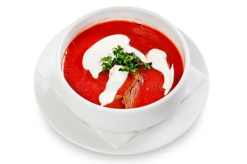 Beet soup,borscht. In white bowl stock images