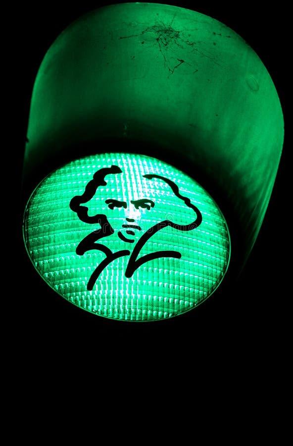 Beethoven przedstawiający na zielonym światła ruchu w Bonn, Niemcy obraz royalty free