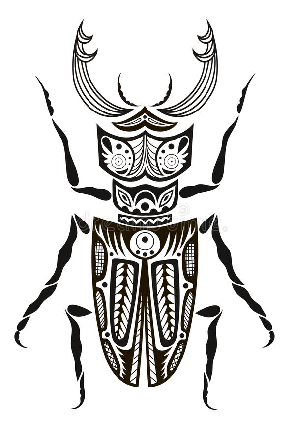 Beetle bug insect isolated on white background vector illustration